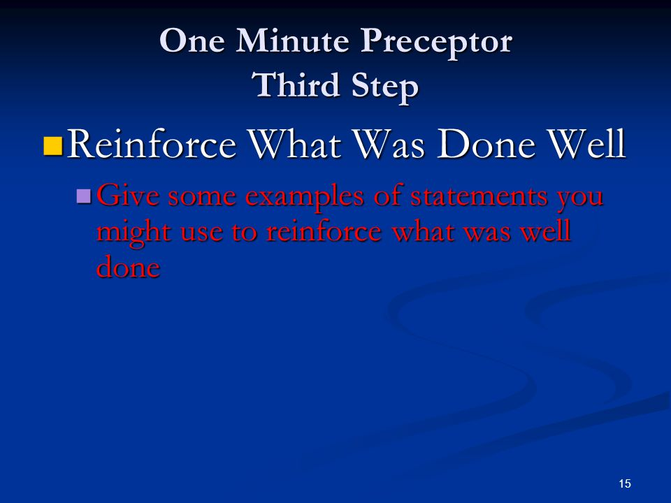 One Minute Preceptor Third Step