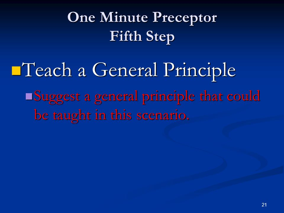 One Minute Preceptor Fifth Step