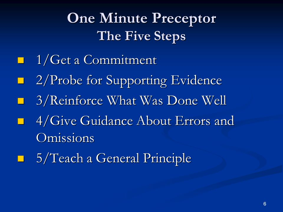 One Minute Preceptor The Five Steps