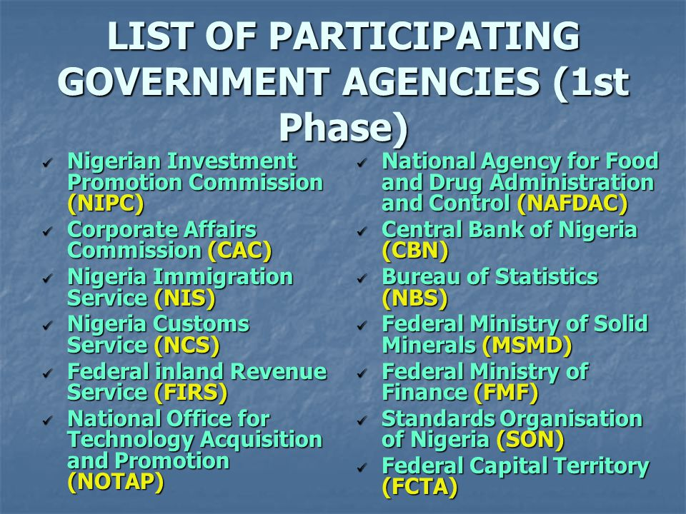 LIST OF PARTICIPATING GOVERNMENT AGENCIES (1st Phase)