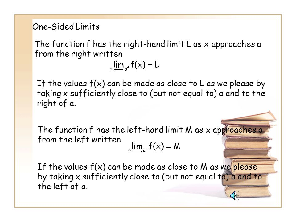 One-Sided Limits The function f has the right-hand limit L as x approaches a from the right written.