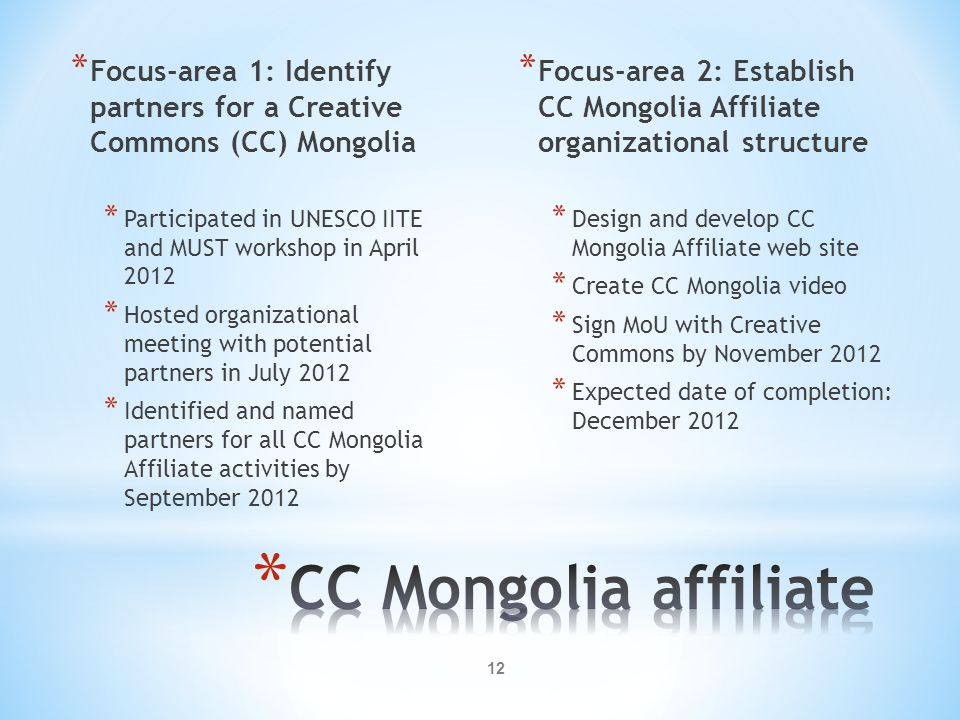Focus-area 1: Identify partners for a Creative Commons (CC) Mongolia