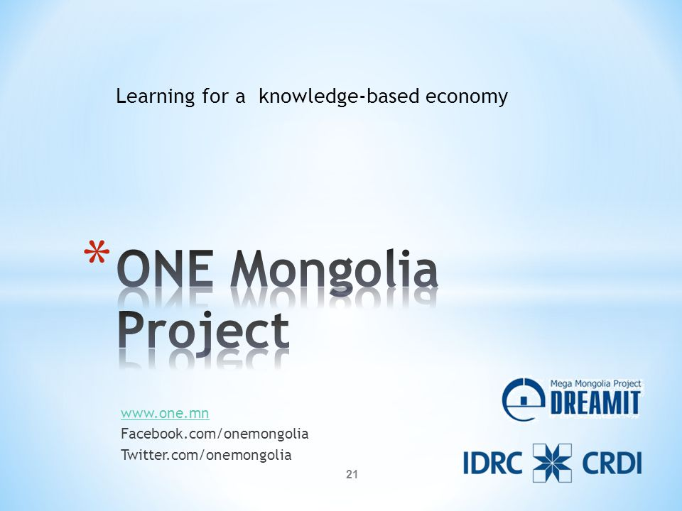 www.one.mn Facebook.com/onemongolia Twitter.com/onemongolia