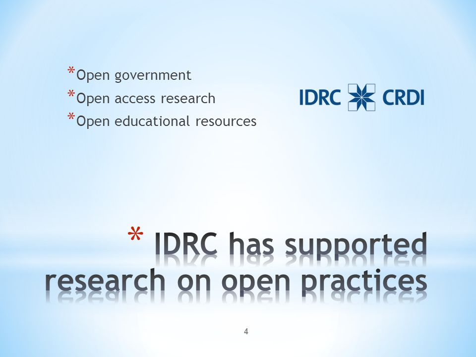 IDRC has supported research on open practices