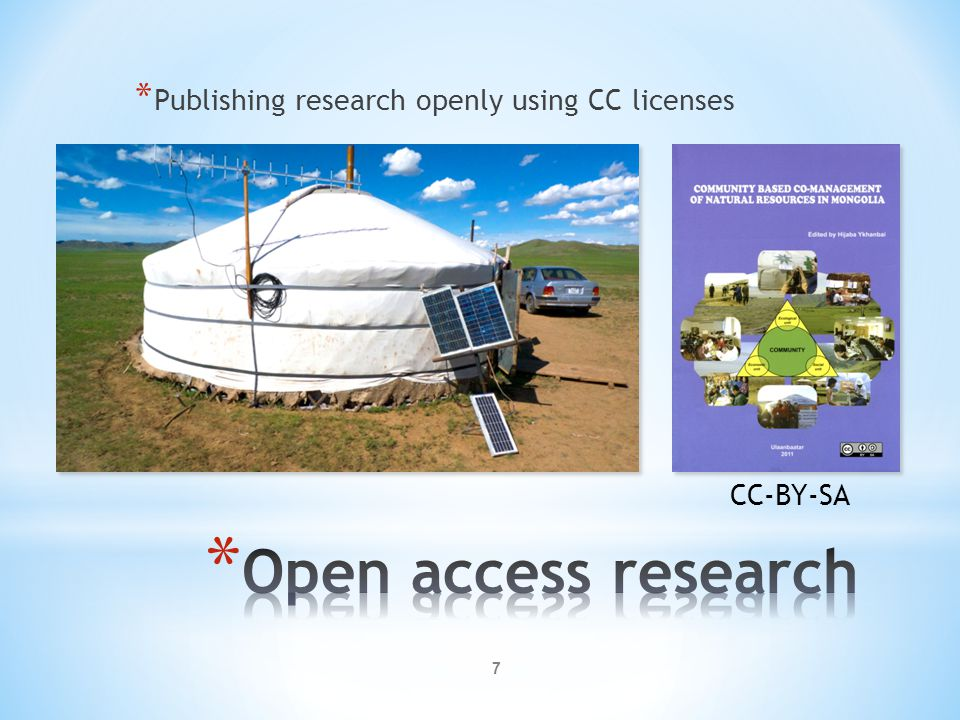 Open access research Publishing research openly using CC licenses