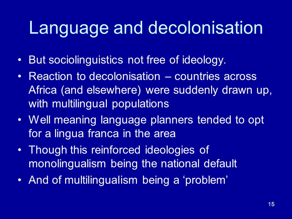 Language and decolonisation