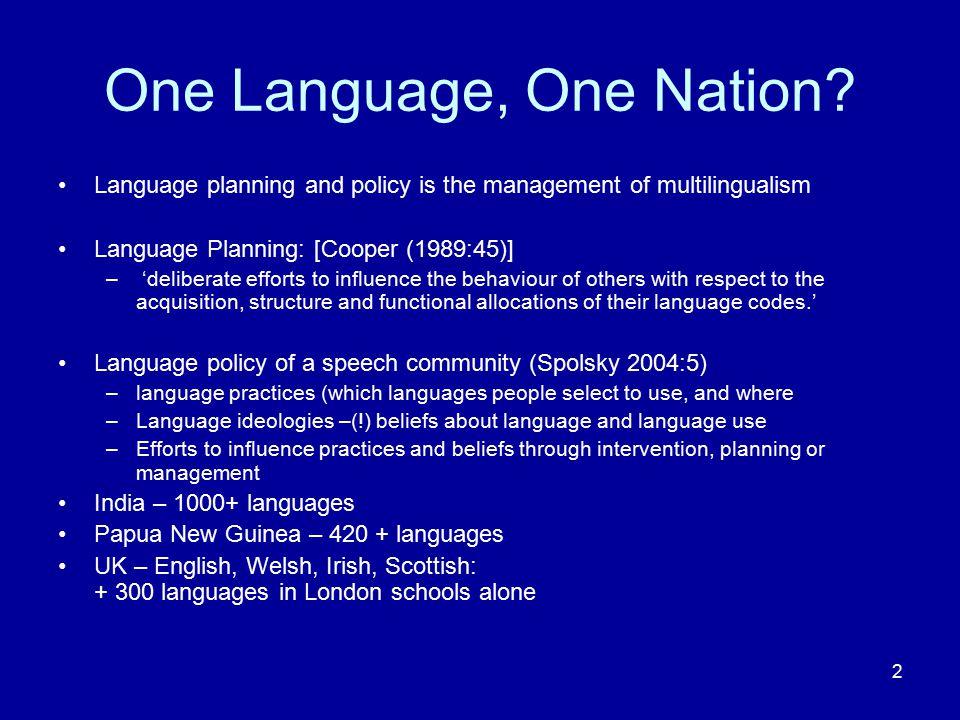 One Language, One Nation