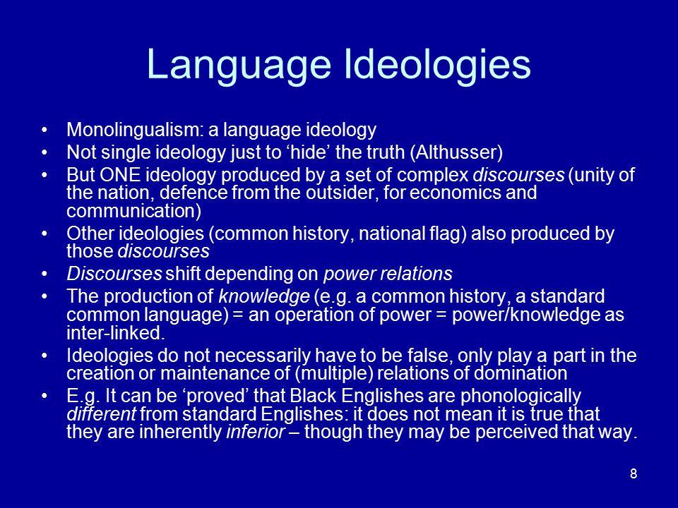 Language Ideologies Monolingualism: a language ideology
