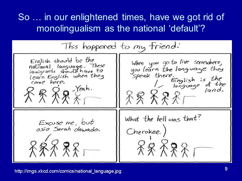 So … in our enlightened times, have we got rid of monolingualism as the national 'default'