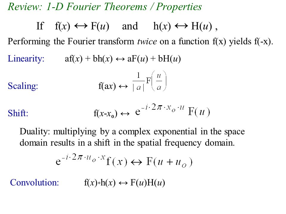 Review: 1-D Fourier Theorems / Properties