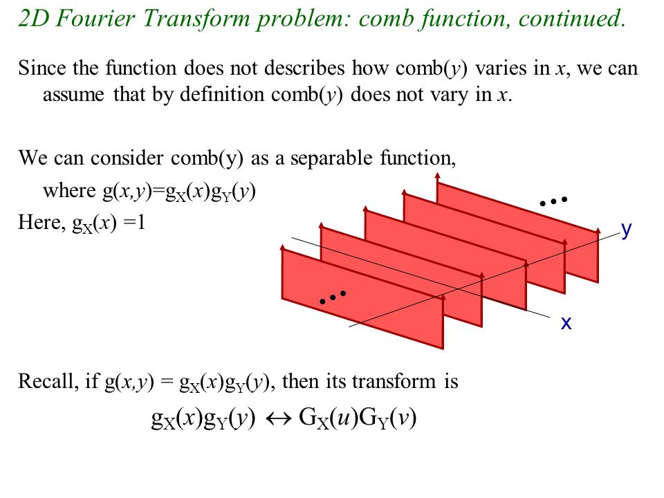 2D Fourier Transform problem: comb function, continued.
