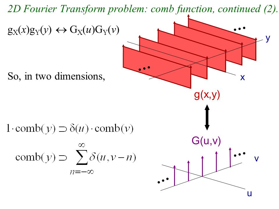 2D Fourier Transform problem: comb function, continued (2).