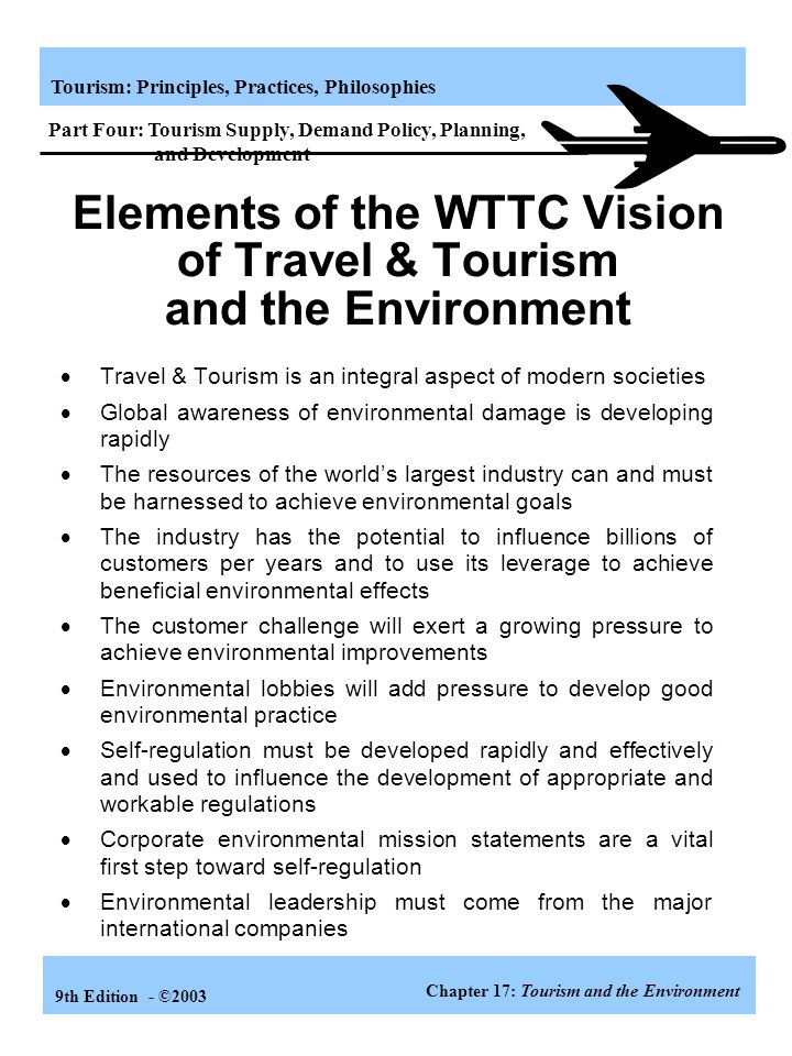 Elements of the WTTC Vision of Travel & Tourism and the Environment