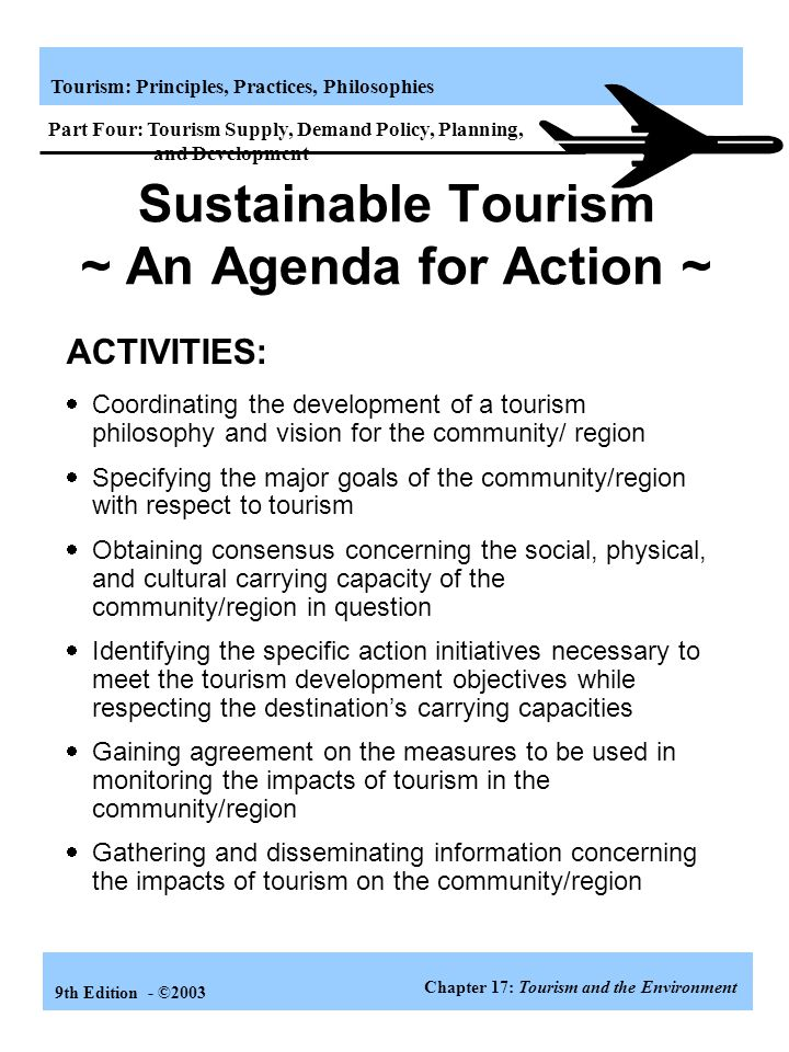 Sustainable Tourism ~ An Agenda for Action ~