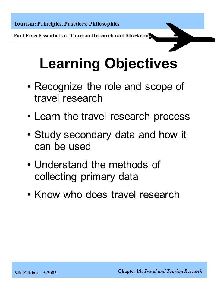 Learning Objectives Recognize the role and scope of travel research