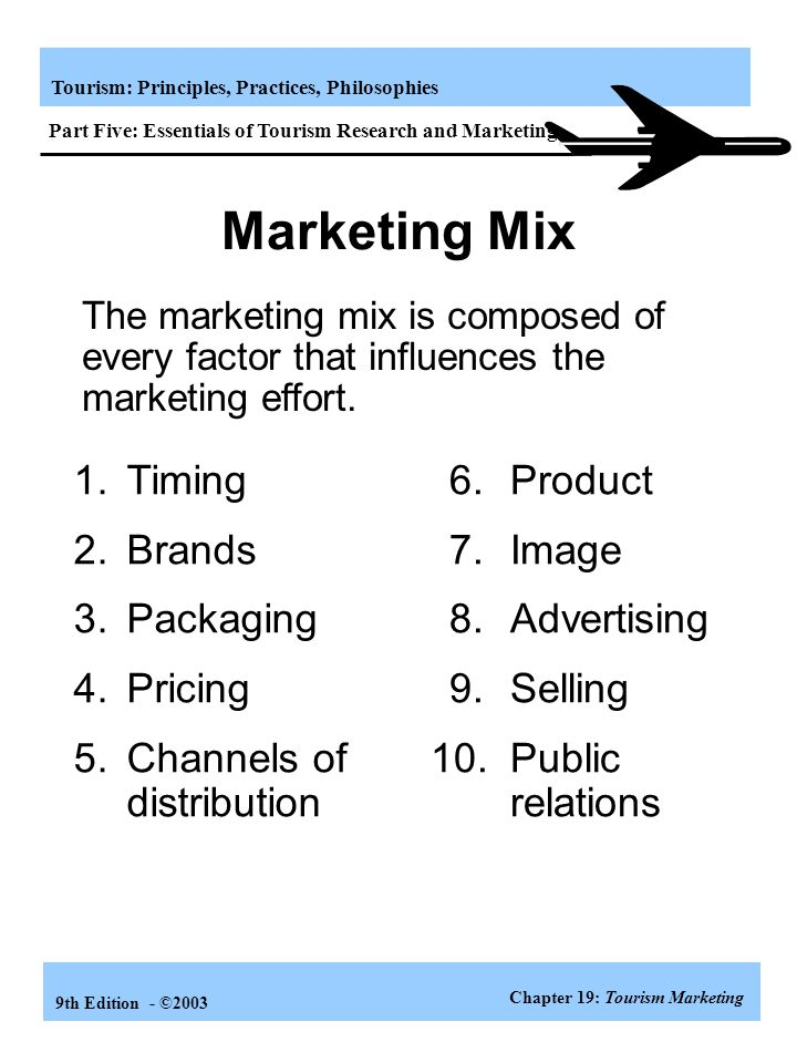 Marketing Mix 1. Timing 2. Brands 3. Packaging 4. Pricing