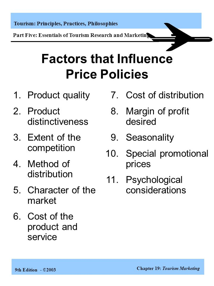 Factors that Influence Price Policies