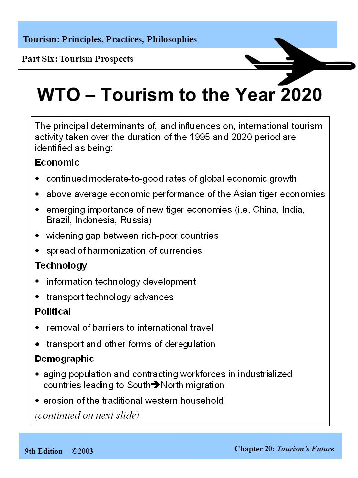 WTO – Tourism to the Year 2020