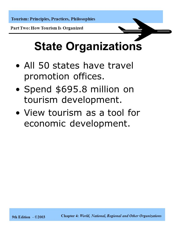 State Organizations All 50 states have travel promotion offices.