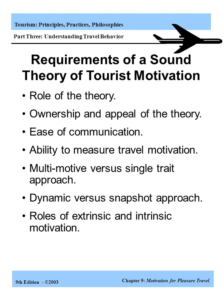 Requirements of a Sound Theory of Tourist Motivation