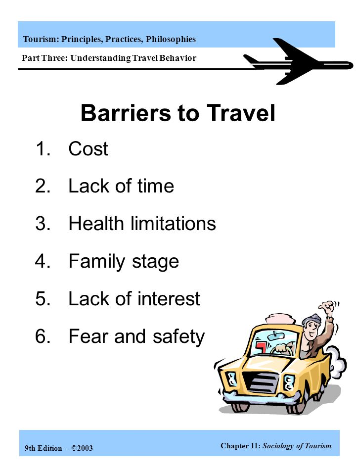 Barriers to Travel 1. Cost 2. Lack of time 3. Health limitations