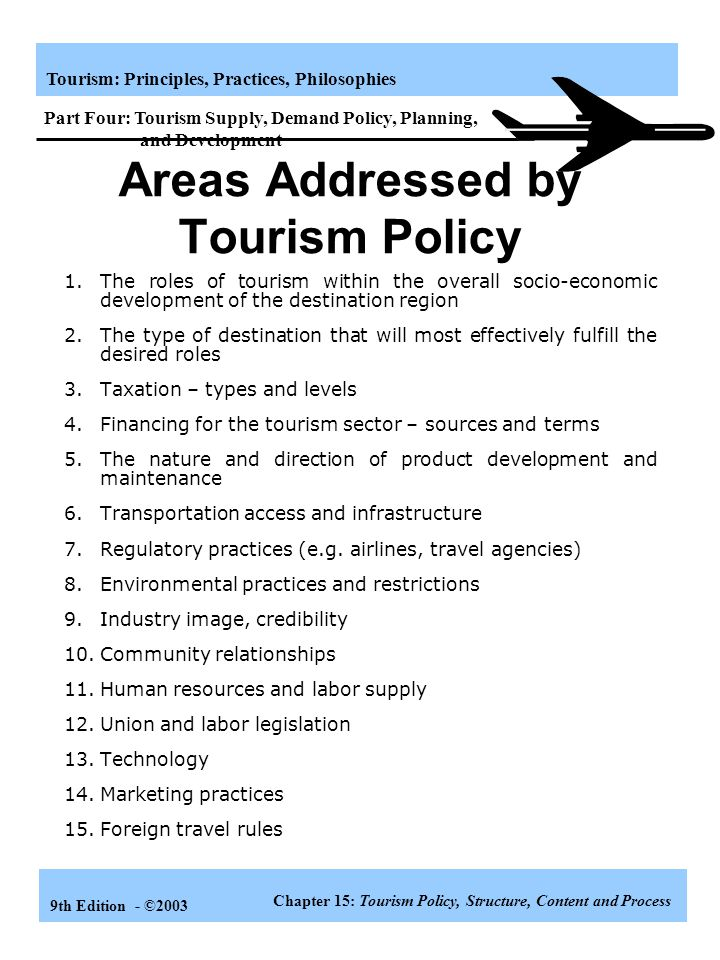 Areas Addressed by Tourism Policy
