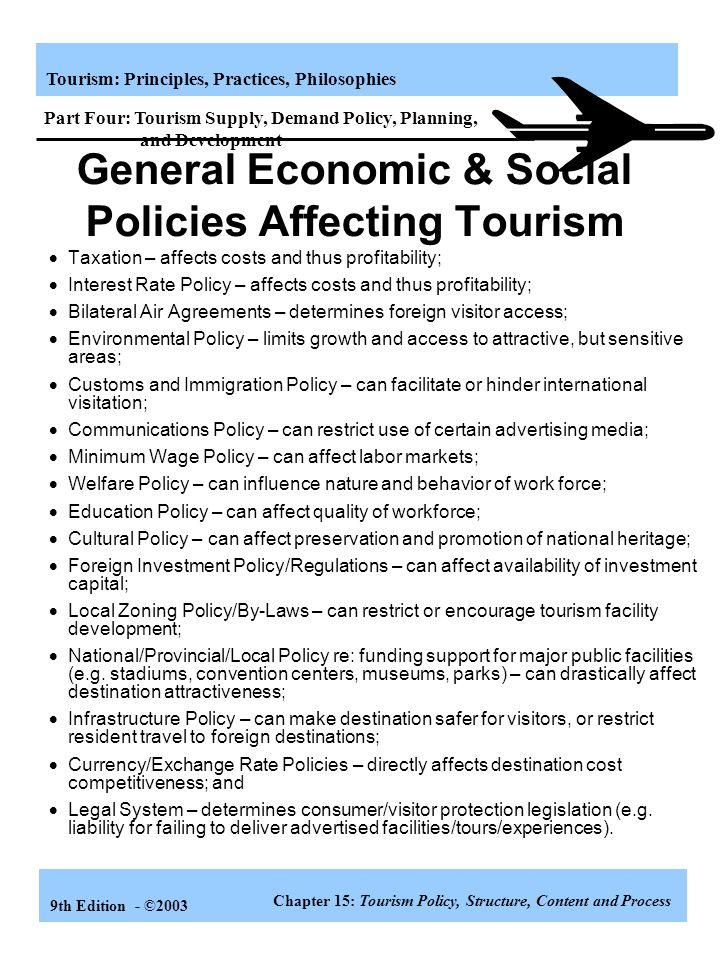 General Economic & Social Policies Affecting Tourism