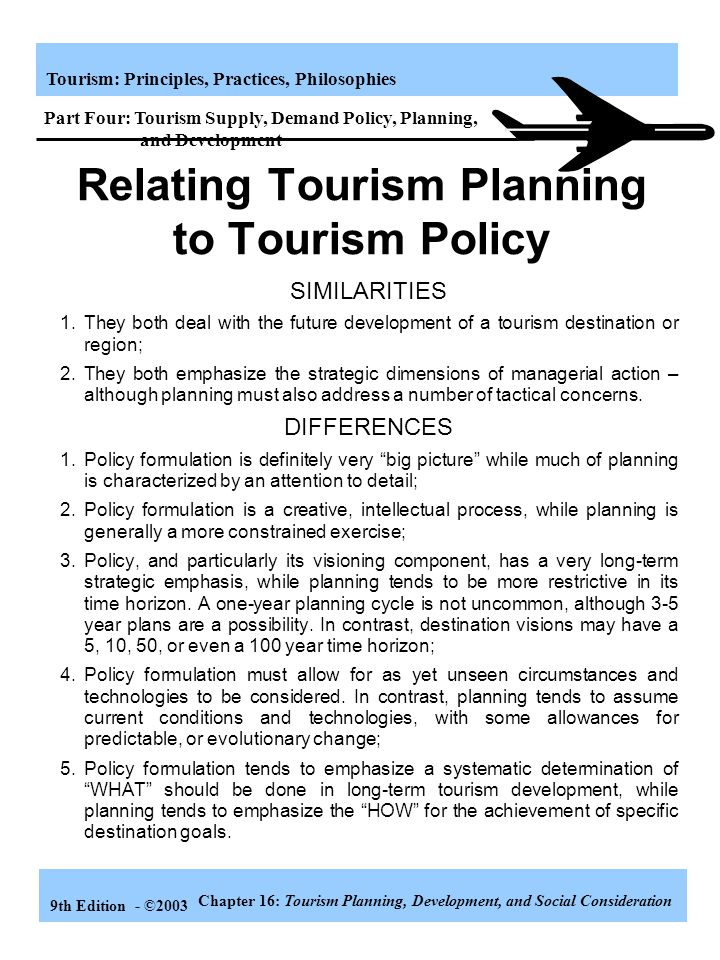 Relating Tourism Planning to Tourism Policy