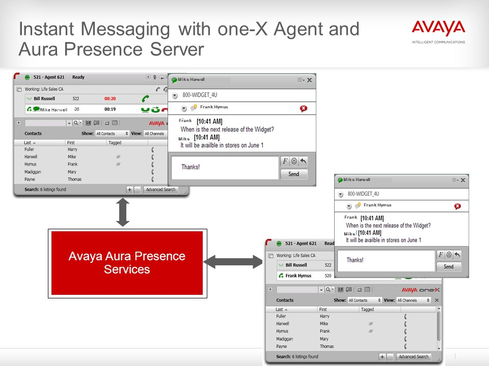 Instant Messaging with one-X Agent and Aura Presence Server