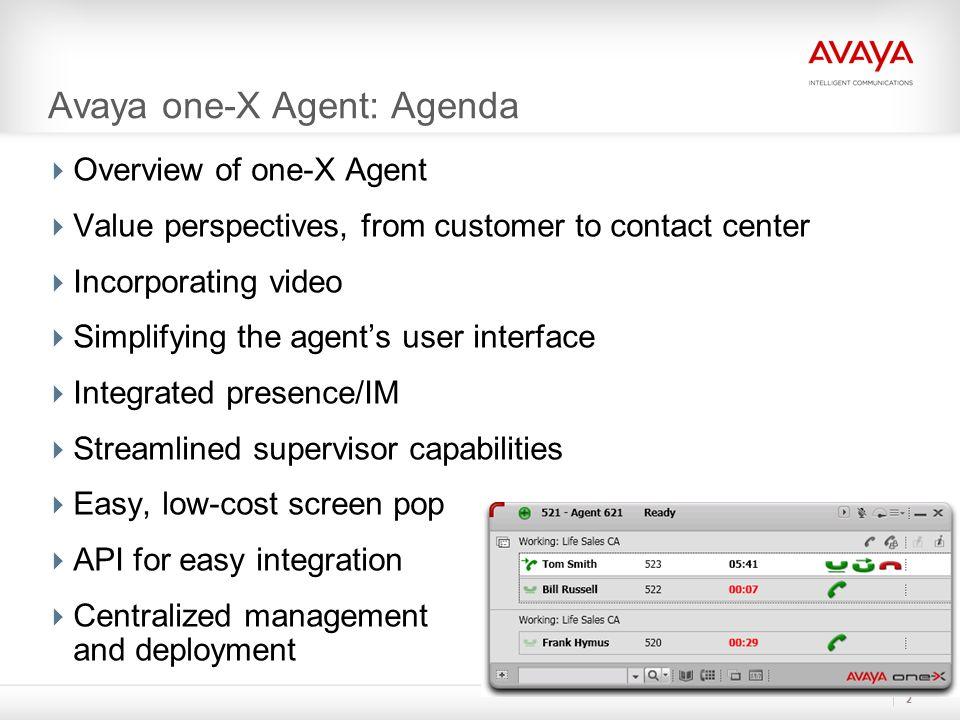 Avaya one-X Agent: Agenda