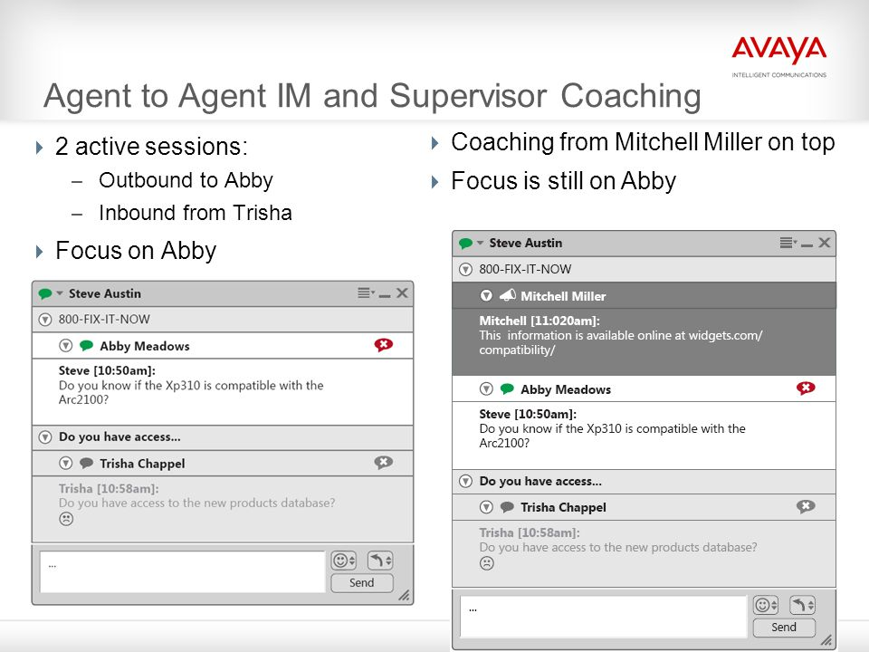Agent to Agent IM and Supervisor Coaching