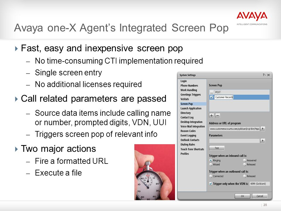 Avaya one-X Agent's Integrated Screen Pop