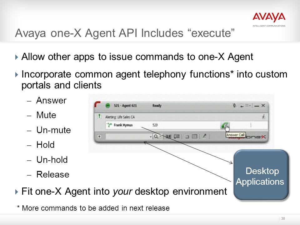 Avaya one-X Agent API Includes execute