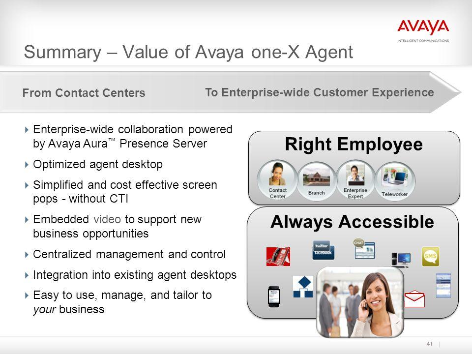 Summary – Value of Avaya one-X Agent