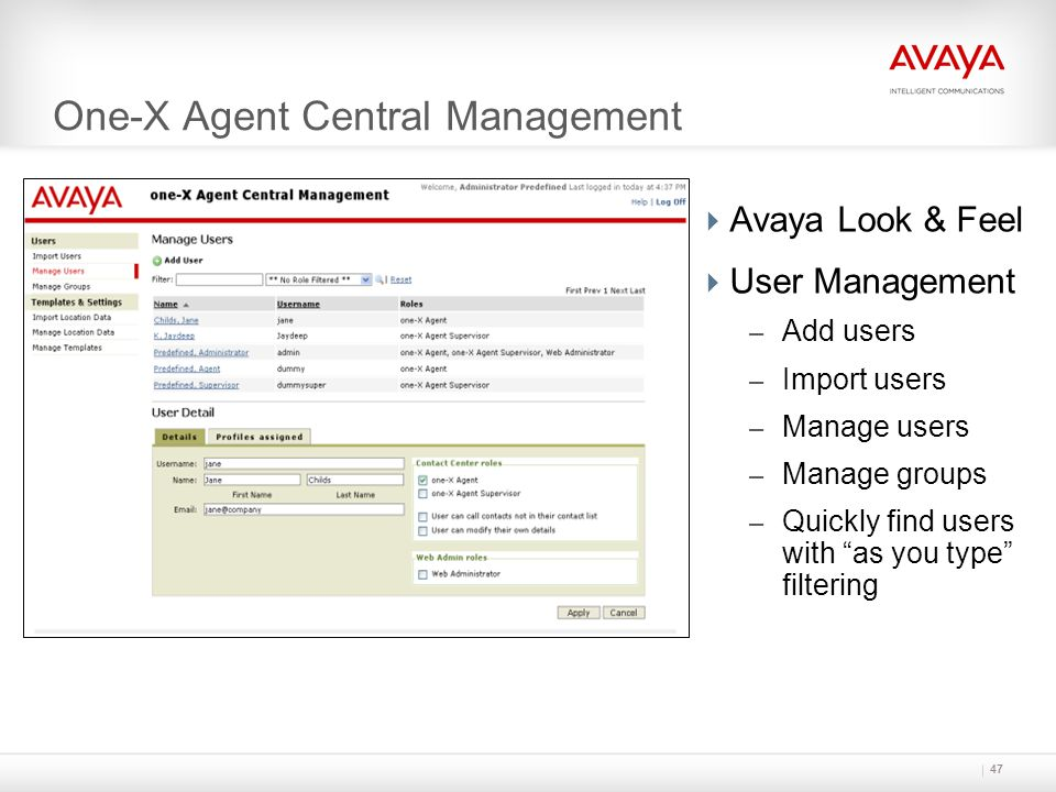 One-X Agent Central Management