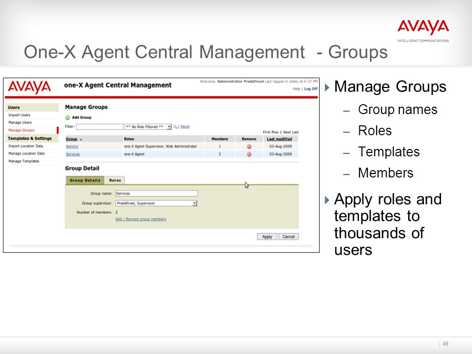 One-X Agent Central Management - Groups