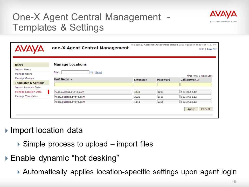 One-X Agent Central Management - Templates & Settings