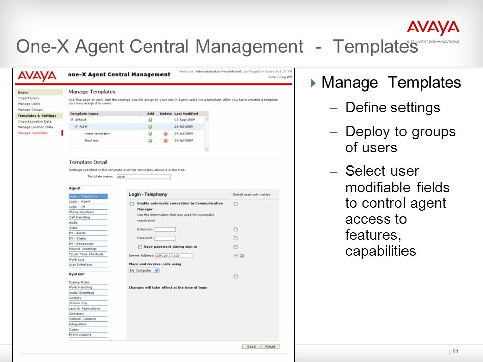 One-X Agent Central Management - Templates
