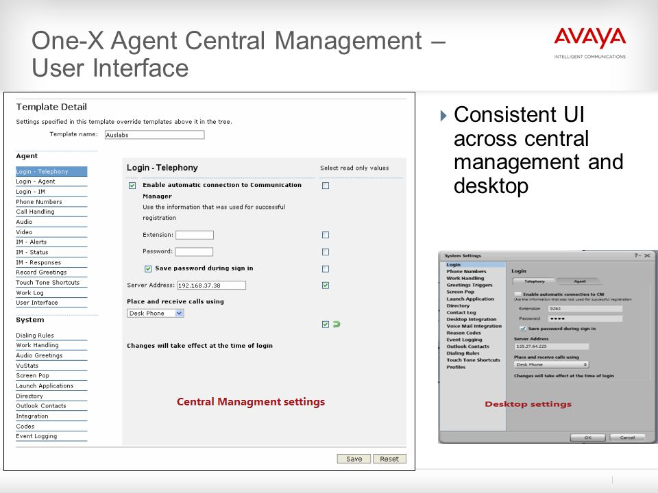 One-X Agent Central Management – User Interface