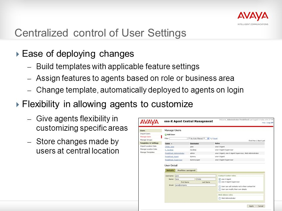 Centralized control of User Settings