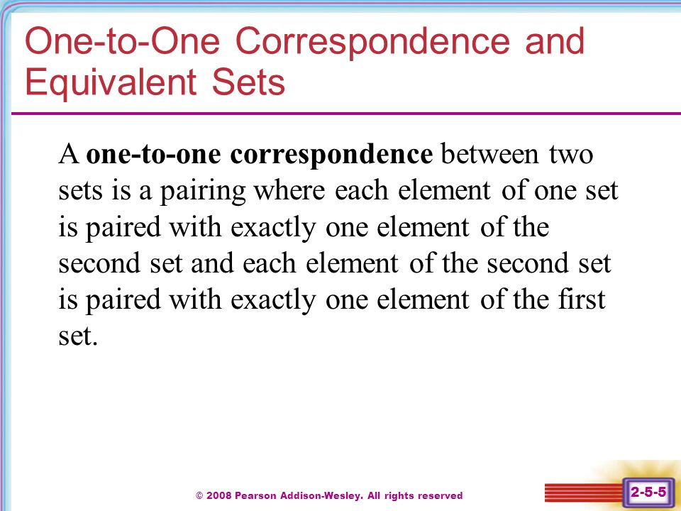 One-to-One Correspondence and Equivalent Sets