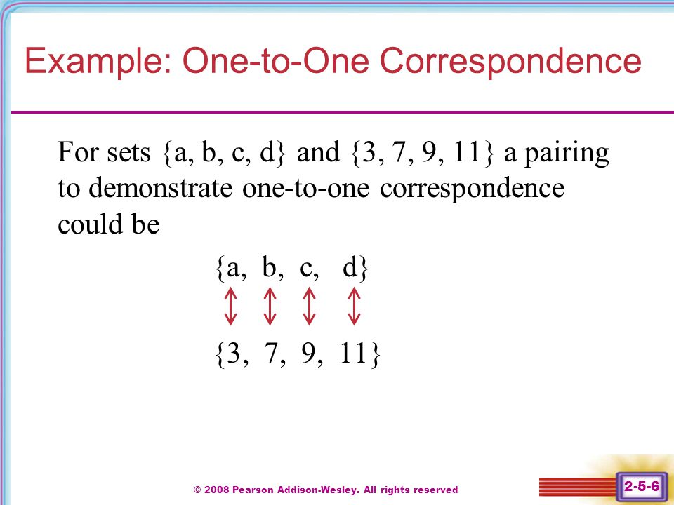 Example: One-to-One Correspondence