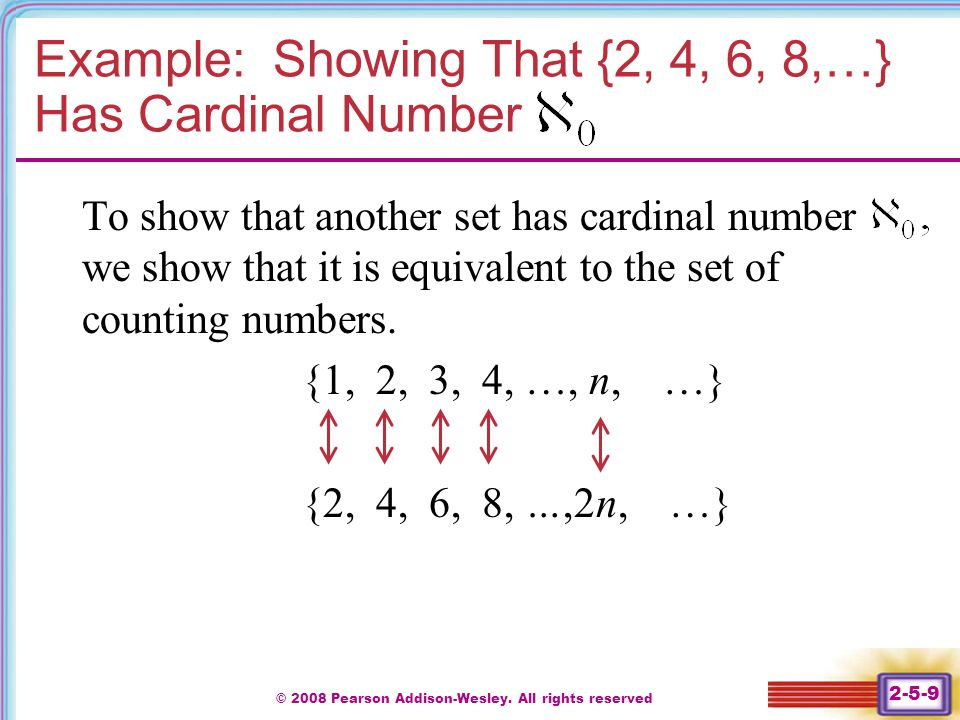 Example: Showing That {2, 4, 6, 8,…} Has Cardinal Number