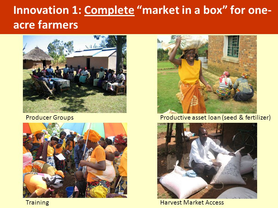 Innovation 1: Complete market in a box for one-acre farmers
