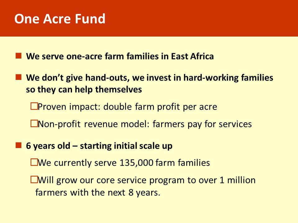 One Acre Fund Proven impact: double farm profit per acre