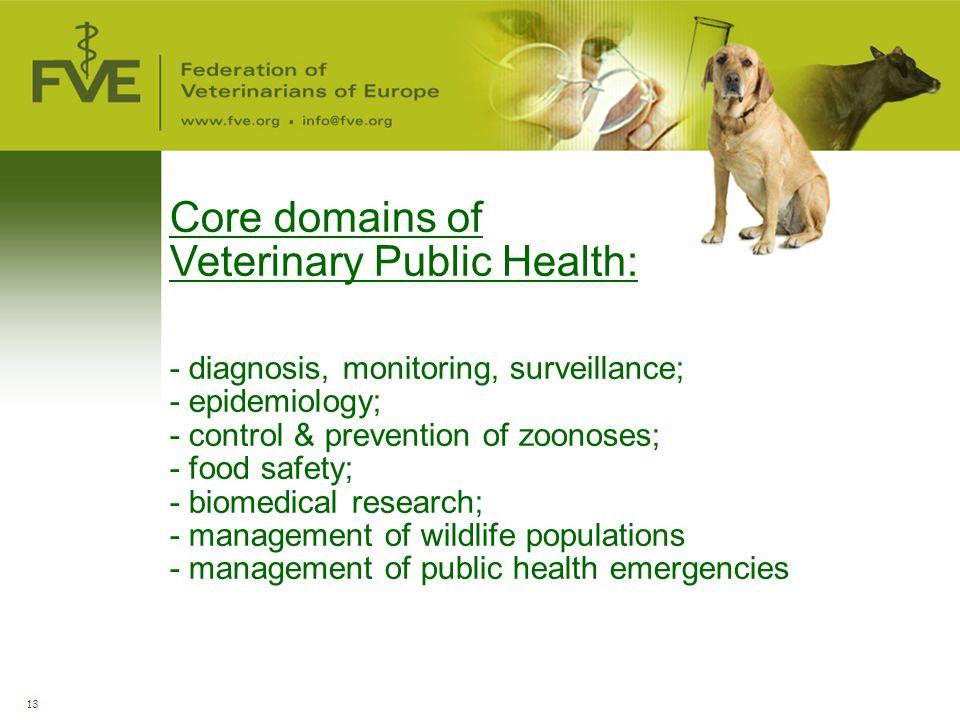 Core domains of Veterinary Public Health: