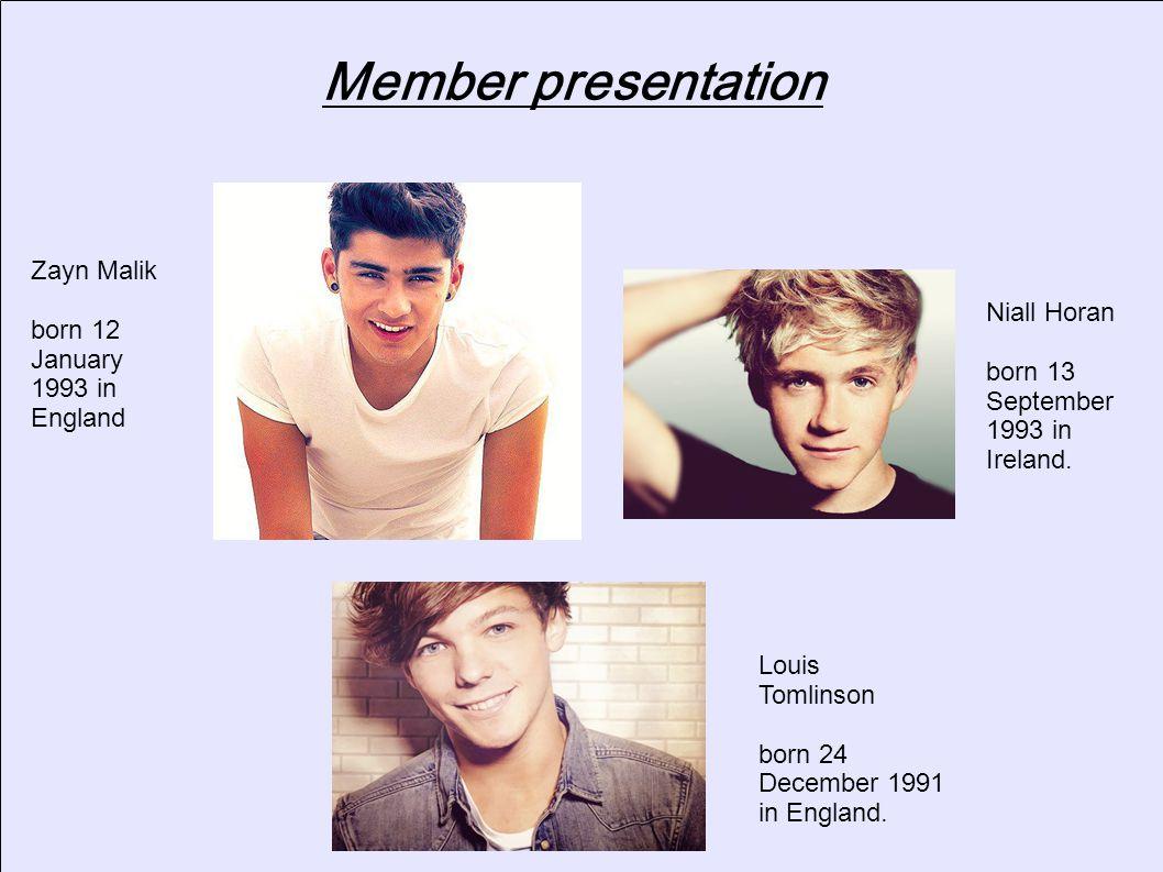 Member presentation Zayn Malik born 12 January 1993 in England