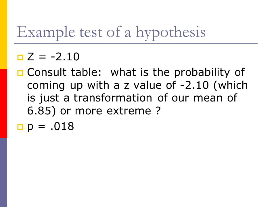 Example test of a hypothesis