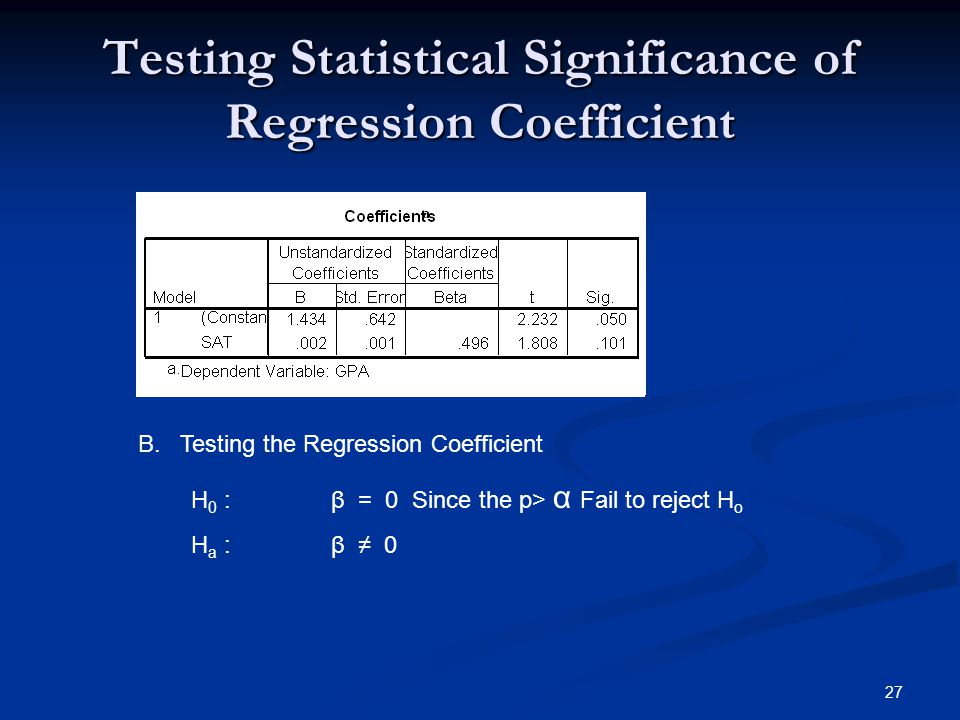 Testing Statistical Significance of Regression Coefficient