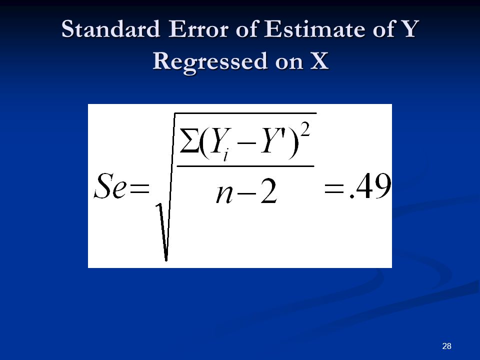 Standard Error of Estimate of Y Regressed on X